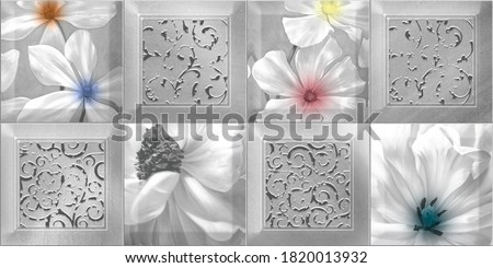 Digital Wall Tiles And Floor Tiles Design For Digital Printing. Also You Can Use this Design In Your Multi Colour Work. Ceramic wall tiles Design for Bathroom wall and Living room Concept - 3D  Foto stock ©