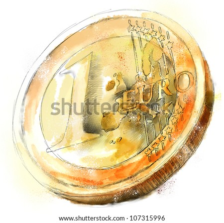 Digital watercolor Illustration of a ruined euro coin