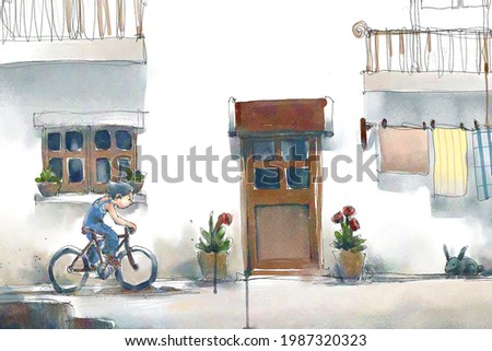 digital watercolor illustration painting of boy rides a bicycle along the alley.