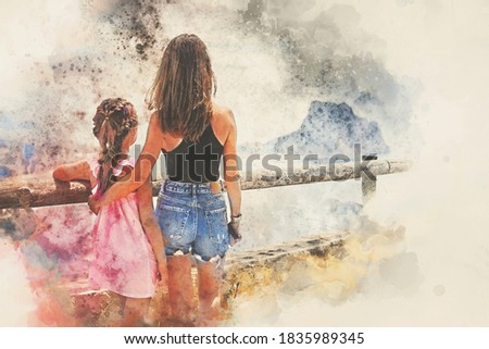 Digital watercolor image. Rear view mother hug daughter family traveling admiring nature views. Travel and tourism concept Stock photo ©