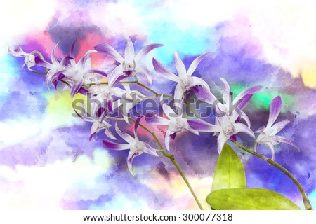 Digital watercolor: Orchid on the background colorful.