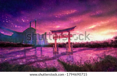 Digital watercolor painting. A structure similar to a Japanese Torii in a swamp-like field, with a forest and an ancient ruin in the background.