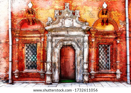 Digital watercolor painting and drawing of antique iron door with grunge red brick wall church.