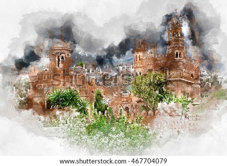 Digital watercolor painting of a Colomares Castle. Castle dedicated to the explorer and navigator Christopher Columbus. Benalmadena town. Province of Malaga. Andalusia. Spain