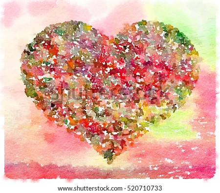 Stock Photo Digital watercolor painting of a heart in a variety of colors including red and green. Space for text.