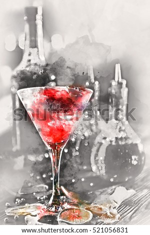 Digital watercolor painting of an alcoholic cocktail