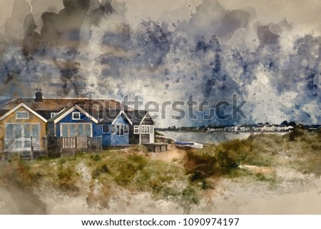 Stock Photo Digital watercolor painting of Beach huts on sand dunes and beach landscape