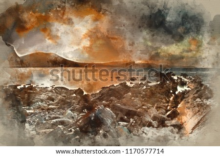 Stock Photo Digital watercolor painting of Beautiful sunrise landscape over Mupe Bay on Jurassic Coast in Dorset, England