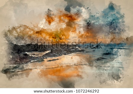 Digital watercolor painting of Beautiful sunset landscape image of Freshwater West beach on Pembrokeshire Coast in Wales