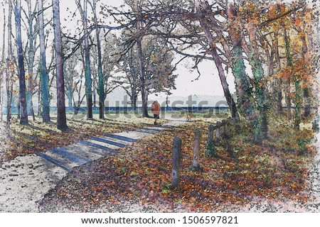 Digital watercolor painting of elderly woman walking alone in a park with autumn colored leaves.