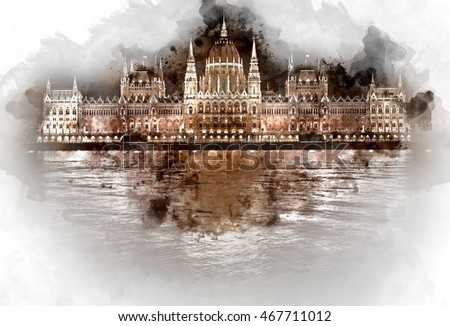 Digital watercolor painting of Hungarian Parliament Building at night. Budapest, Hungary