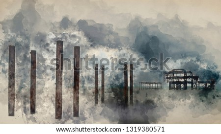 Digital watercolor painting of Landscape image of derelict Victorian West Pier at Brighton in West Sussex with moody evening sky