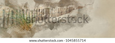 Stock Photo Digital watercolor painting of Panorama landscape of sand dunes system on beach at sunrise