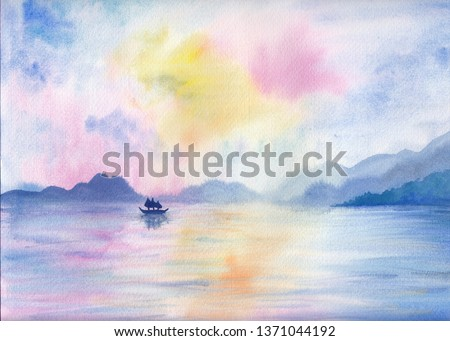 Digital watercolor painting of peaceful image of calm landscape with vibrant colorful sky, layers of mountains, sea and boat. Serenity background. Seascape for calming mind, meditation, relaxation.