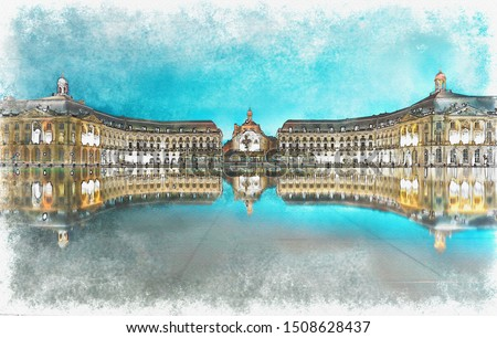 Digital watercolor painting of Place de la Bourse square at night, luxury travel vacation, Bordeaux, France.