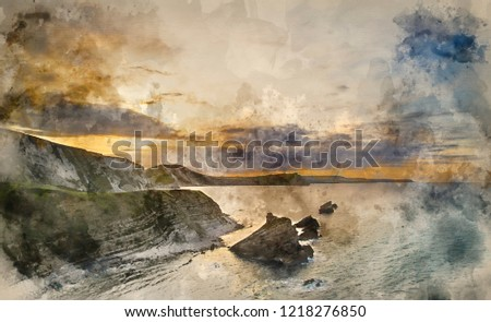 Stock Photo Digital watercolour painting of Beautiful sunrise over Mupe Bay landscape on Summer morning