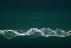 Digital wave on green background
