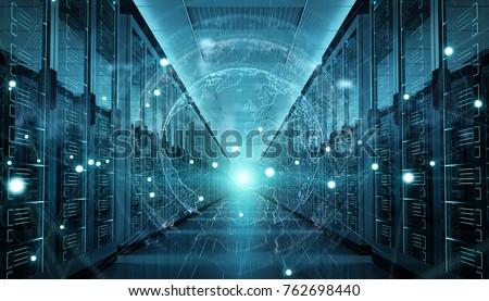 Digital white Earth network flying over server room data center 3D rendering