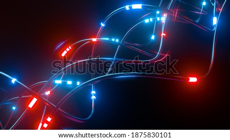 Digital wires with moving information impulse. Creative composition with cables transfering big data and neon light. Twisted lines in motion. Colorful vortex, abstract background. 3d rendering Foto stock ©