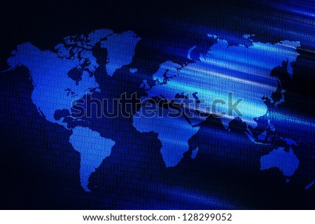 Digital World Background - Dark Blue Digital World Abstract Background - Illustration. Technology Backgrounds Collection.