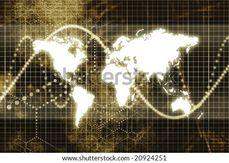 Digital World Business Abstract With Graph Background