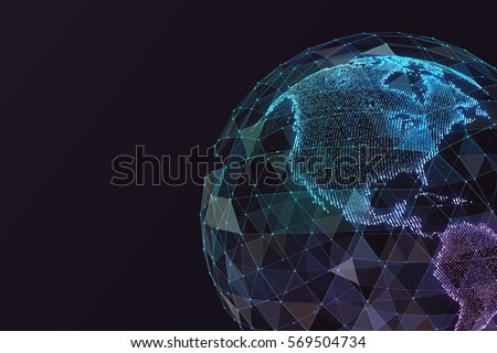 Digital world map. Global network satellite technology of earth