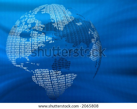 Digital world on a blue background