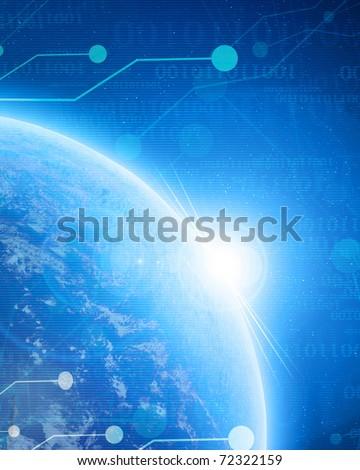 digital world on a soft blue background