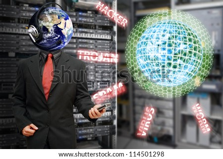 Digital world was protected by admin in server room : Elements of this image furnished by NASA