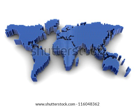 Digital worldwide map, geography subject