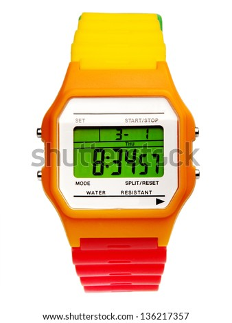 Digital wristwatch Isolated on white background #136217357