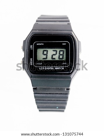 Digital wristwatch on a white background