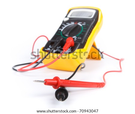 Digital yellow multimeter on a white background.