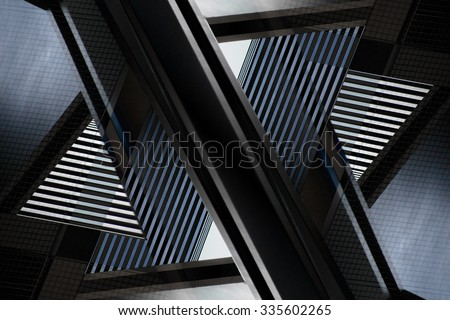Digitally altered close-up photograph of abstract architecture fragment. Distinctive contemporary composition with geometric structure in black and blue colors of twilight. #335602265