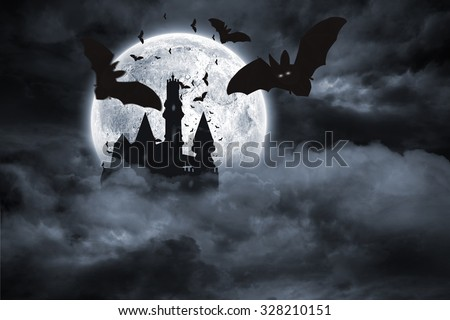 Digitally generated Bats flying from draculas castle