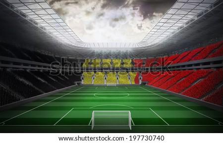 Digitally generated belgian national flag against football stadium #197730740