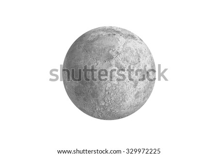 Digitally generated full grey moon on white background