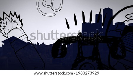 Digitally generated image of abstract digital icons over cityscape against grey background. global business and technology concept