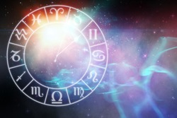 Digitally generated image of clock with various Zodiac signs against digitally generated image of colorful lights