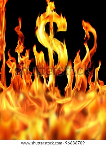 digitally generated image of dollar sign in fire
