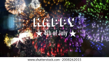 Digitally generated image of happy 4th of july text against colorful fireworks on black background. american independence day celebration concept