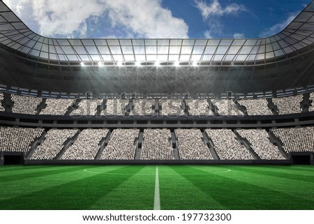 Digitally generated large football stadium with white fans Stock photo ©