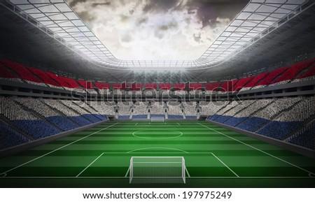 Digitally generated netherlands national flag against football stadium #197975249
