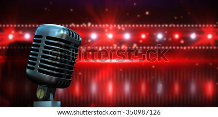Digitally generated retro chrome microphone against digitally generated nightlife light design