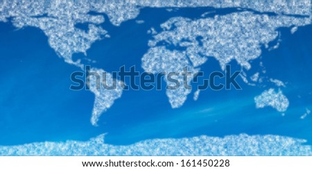 Digitally generated world map in sky