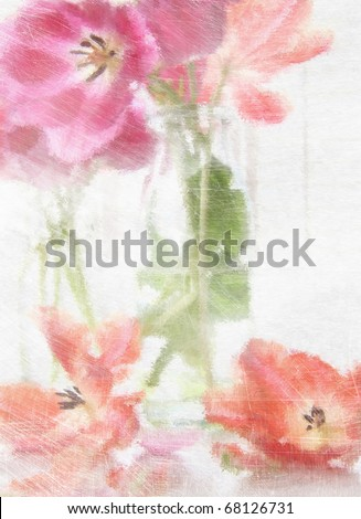 Digitally rendered painting of spring tulips in old milk bottles - stock photo