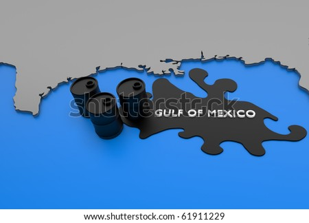 Digitally rendered scene with cartography and oil barrels/Gulf of Mexico Oil Crisis