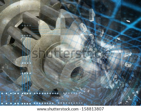 Digits and gears - abstract computer background.