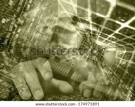 Digits and hands - abstract computer background in sepia.