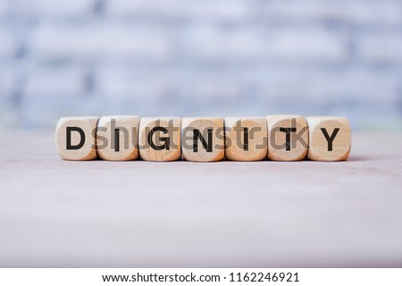 Dignity word written on wood block Сток-фото ©
